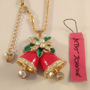 Betsey Johnson Red Christmas Bells Necklace + Gift
